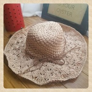 NWT Hand-Crocheted Dusty Pink Wide Brim Hat